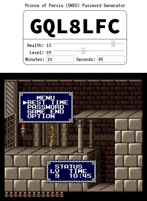 The JavaScript version of the Prince of Persia Password Generator in action.